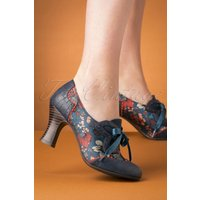40s Daisy Floral Booties In Cyan