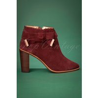 70s Anaedi Suede Booties In Burnt Berry