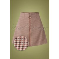 60s Betty Winter Mini Skirt In Houndstooth Brown