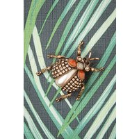 50s Sparkly Beetle Bug Brooch In Gold