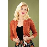 50s Leah Vintage Leaves Cardigan In Burnt Orange