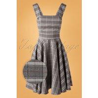 40s Frostine Pinafore Tartan Dress In Grey