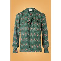 60s Mindfulness Tres Chic Blouse In Green