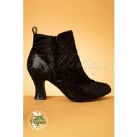 40s Antoinette Velvet Booties In Black