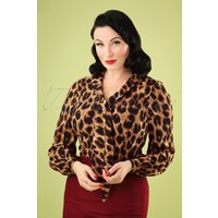 50s Bow Blouse In Leopard