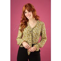 40s Ruffle Cuff Blouse In Yellow