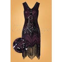 20s Veronique Fringe Flapper Dress In Metallic Purple