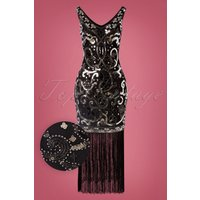 20s St Michele Dress In Silver And Black