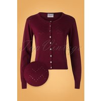 50s Pointelle Cardigan In Burgundy