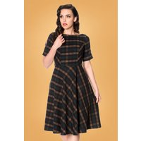 40s Check In Swing Dress In Blue And Brown