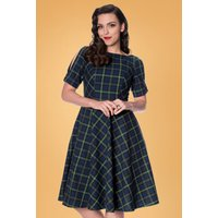 40s Check In Swing Dress In Green And Blue