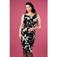 50s Bloom Pencil Dress In Black
