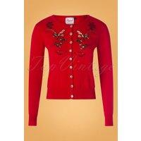 50s Rocking Robin Cardigan In Dark Red