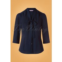 50s Perfect Bow Blouse In Midnight Blue