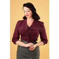 50s Perfect Bow Blouse In Burgundy