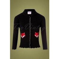 60s Foxy Fox Pocket Cardigan In Black