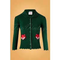 60s Foxy Fox Pocket Cardigan In Dark Green