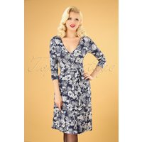 50s Whitney Floral Wrap Dress In Dark Blue