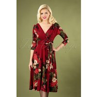 50s Lenora Floral Dress In Wine