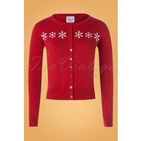 50s Snow Flake Cardigan In Dark Red