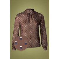 60s Box Spot Blouse In Cappuccino Brown