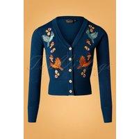 50s Ginny Woodland Cardigan In Blue
