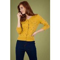 50s Diana Polkadot Cardigan In Mustard
