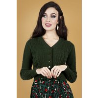 50s Mabel Cropped Cardigan In Dark Green