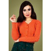 50s Mabel Cropped Cardigan In Orange