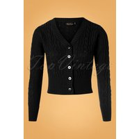 50s Mabel Cropped Cardigan In Black