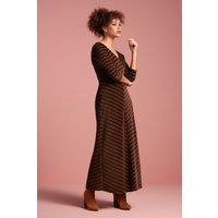70s Lot Velvet Stripe Maxi Dress In Pine Green