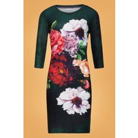 60s Florie Floral Pencil Dress In Green