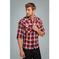 50s Tiago Mountain Check Blouse In Red