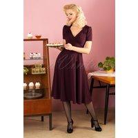 40s Vivienne Hollywood Circle Dress In Crievo Aubergine