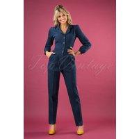 40s Classic Long Sleeve Jumpsuit In Dark Denim