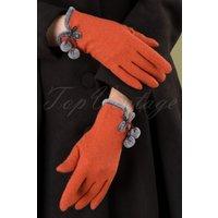 40s Betty Pom Pom Wool Gloves In Tangerine