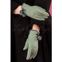 40s Betty Pom Pom Wool Gloves In Pale Green