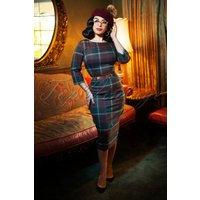 50s Adeline Westie Check Pencil Dress In Multi