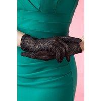 50s Rosy Romantic Black Lace Gloves