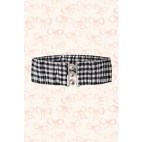 50s Retro Gingham Belt In Black And White