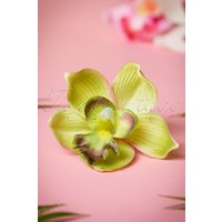 50s Pin-up Orchid Hair Clip Green