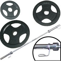 Ironman 90kg Olympic Tri-grip Hammerton Weight Set with 2.2m Olympic Weight Bar