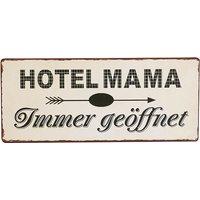 Schild mit Motiv HOTEL MAMA Metall Mehrfarbig von H. Denk GmbH Gelb / Schwarz