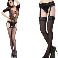 £8.99 instead of £59.98 for a suspender bodystocking & suspender stockings with garter belt from GameChanger Associates - save 85% - Lingerie Gifts