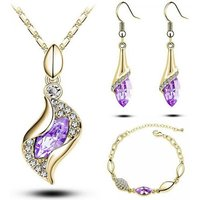 £12.99 instead of £99 (from Evoked Design) for a yellow gold plated and lilac crystal tri-set - save 87% - Lilac Gifts