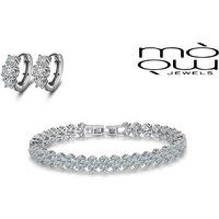 £12.99 instead of £129 for a created crystal multi-link bracelet & earrings set from Genova International Ltd - save 90% - Crystal Gifts