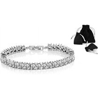 £8.99 instead of £21.99 for a Philip Jones crystal princess cut bracelet from Silver Supermarket Ltd - save 59% - Fashion Gifts