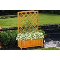 a wooden rectangular planter with trellis - save 67%