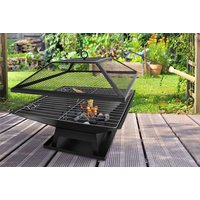 square fire pit with BBQ grill  save 70%