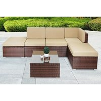 a sixpiece durable polyrattan garden furniture set with coffee table  save 79%